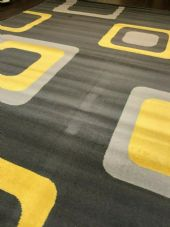 Rugs/Mats Approx 8x5ft 160x230cm Woven Backed Squares Quality Rugs Grey/Mustard